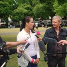 Jarmila Gojdosova being interviewed at Salamanca Markets