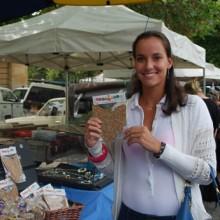 Jarmila Gojdosova showing off her Tasmanian shaped chocolate