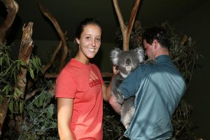 HOBART, AUSTRALIA - JANUARY 05:  Laura Robson of Great Britain poses with a Koala on a visit to Bonorong Wildlife Sanctuary during day two of the Hobart International at Domain Tennis Centre on January 5, 2013 in Hobart, Australia.  (Photo by Mark Metcalfe/Getty Images)