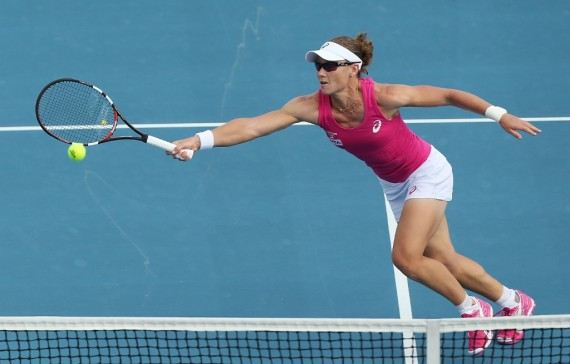 Australia's Samantha Stosur is in action on day four of the 2014 Hobart International. Picture: Getty Images