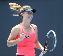 Come on! Australian teen Storm Sanders celebrates her first ever WTA main draw win. Picture: Getty Images