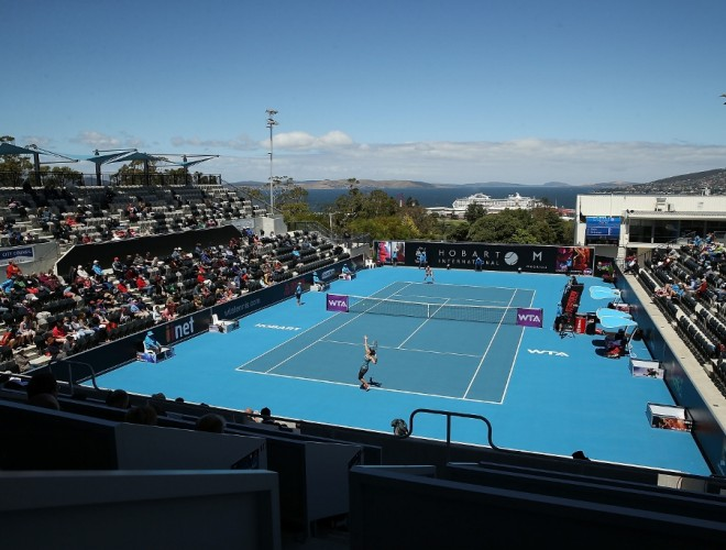 The crowd enjoys the day session at the 2014 Hobart International. Picture: Getty Images