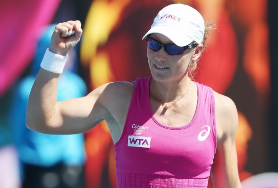 An excited Samantha Stosur celebrates her round two win today. Picture: Getty Images