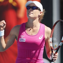 A relieved Samantha Stosur celebrates winning her second round match. She saved two match points in a tense third set tiebreaker. Picture: Getty Images
