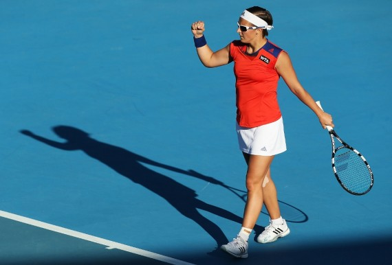 Second seed Kirsten Flipkens was pumped to survive an epic second round match. Picture: Getty Images