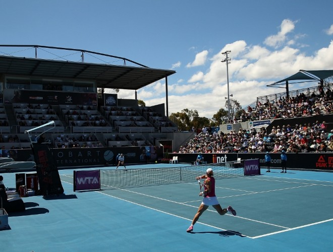 A huge crowd was at the Domain Tennis Centre for day four of the tournament. Picture: Getty Images