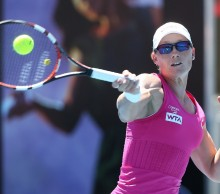 Top seed Samantha Stosur fires a forehand during today's quarter-final win. Picture: Getty Images