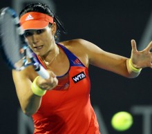 Spanish qualifer Garbine Muguruza upset second seed Kirsten Flipkens to book a semi-final berth. Picture: Getty Images