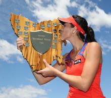 World no.58 Garbine Muguruza kisses her trophy. Picture: Getty Images