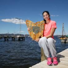 Garbine Muguruza with the spoils of her victory. Picture: Getty Images