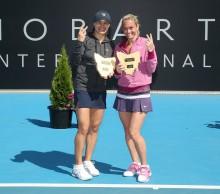 Monica Niculescu and Klara Zakopalova celebrate their second title of 2014. Picture: Getty Images