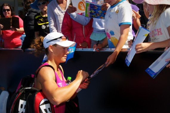 Can Australian Samantha Stosur keep her faces happy with a quarter-final win today? Picture: Casey Gardner