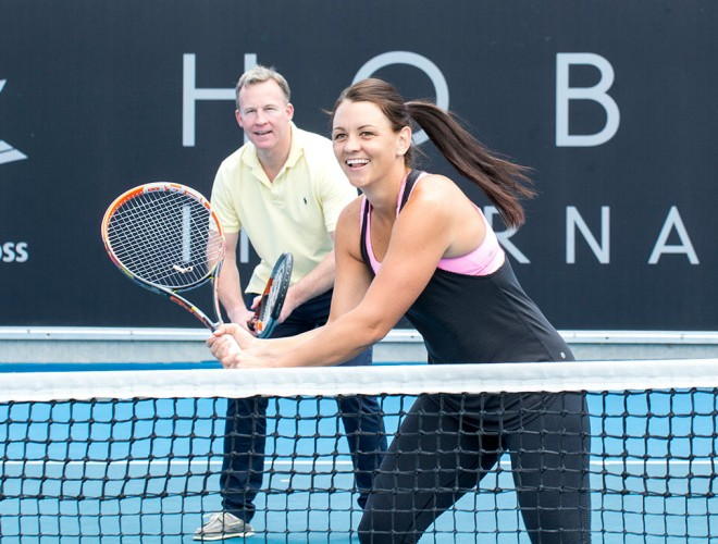 Casey Dellacqua at the launch of the 2015 Hobart International as Tasmanian Premier Will Hodgman looks on; photo credit Michael Rayner