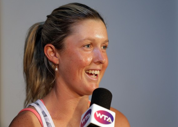 Storm Sanders speaks to the press. Picture: Getty Images