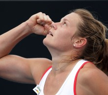 Karin Knapp beat top seed Casey Dellcqua in three sets. Picture: Getty Images