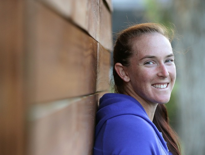 Madison Brengle has played seven matches in Hobart to reach the final, where she will face Heather Watson. Picture: Mark Metcalfe/Getty Images