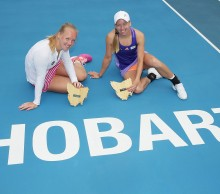 Kiki Bertens, left, and Johanna Larsson won the Hobart International 2015 doubles title. Picture: Getty Images