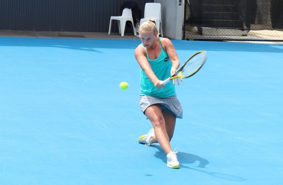 Richel Hogenkamp slices a backhand against Patricia Mayr-Achleitner. Picture: Michael Beattie