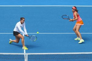 Australian duo Jarmila Wolfe and Kimberly Birrell fought hard in the doubles final. Picture: Getty Images