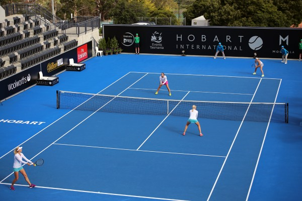 Australian pair Jarmila Wolfe and Kimberly Birrell book a semifinal spot with an upset over the third seeded Kichenok sisters. Picture: Kaytie Olsen