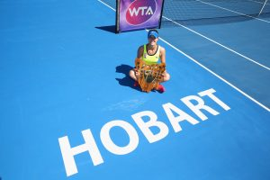 Alize Cornet celebrates becoming the second Frenchwoman to win the Hobart International. Picture: Getty Images
