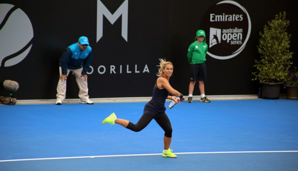 DELAYED WIN: Third seed Dominika Cibulkova had to battle the weather as well as a gallant Kiki Bertens today. Picture: Kaytie Olsen