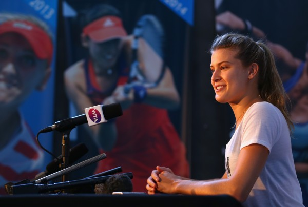 READY TO PLAY: Eugenie Bouchard talks to media ahead of her Hobart International debut. Picture: Getty Images