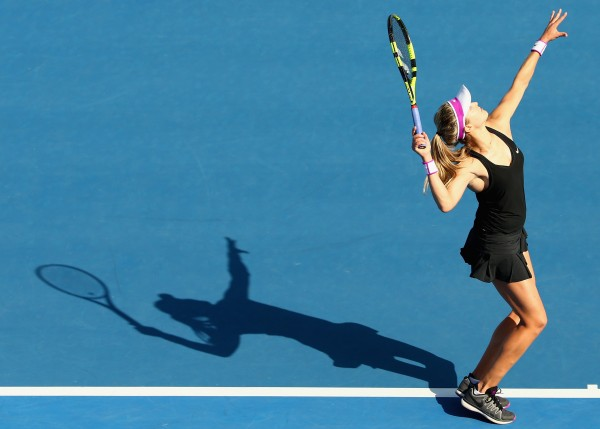 SERVING IT UP: Eugenie Bouchard headlines semifinal day at Hobart International 2016. Picture: Getty Images