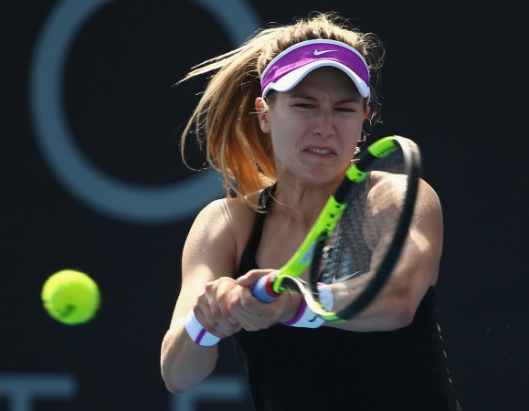 ON COURT: Canadian Eugenie Bouchard in action at Hobart International 2016. Picture: Getty Images