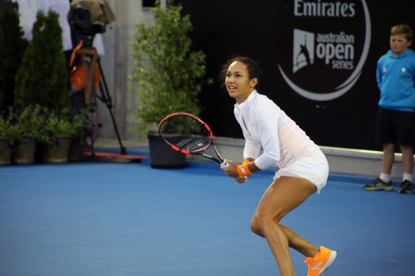 TOUGH MATCH: Brit Heather Watson saved match points to keep her title defence alive. Picture: Kaytie Olsen