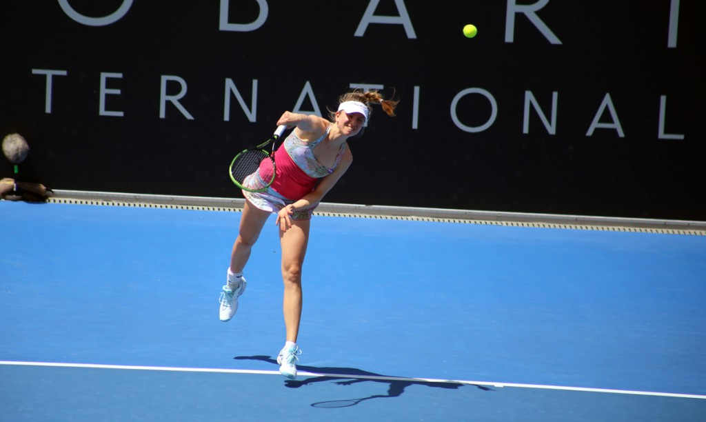 FIGHTING THROUGH: German Mona Barthel battled through a tough second round today. Picture: Kaytie Olsen