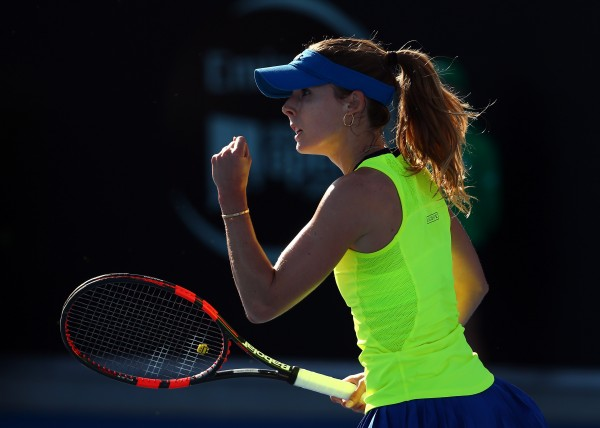 FINAL BOUND: Alize Cornet celebrates her semifinal victory today. Picture: Getty Images