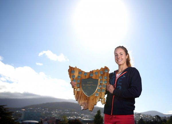 Champion Alize Cornet soaks up the Hobart sunshine after her title win. Picture: Getty Images
