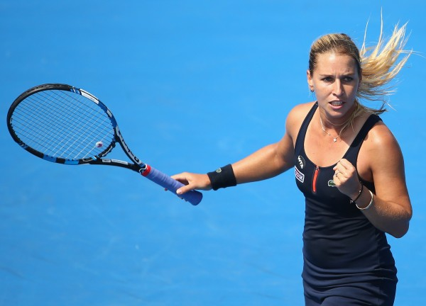 FIRED UP: Third seed Dominika Cibulkova celebrates during the first round of Hobart International 2016. Picture: Getty Images
