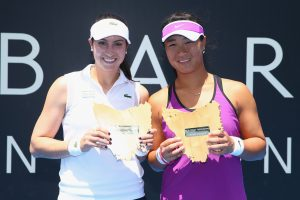 Big smiles from American Christina McHale and China's Xinyun Han as they celebrate their first WTA Tour doubles title. Picture: Getty Images