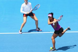 Christina McHale and Xinyun Han in action. They won their first WTA Tour doubles title today. Picture: Getty Images