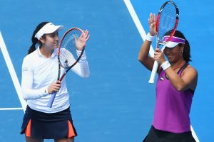 A big crowd was at the Domain Tennis Centre for the doubles final, which champions Christina McHale and Xinyun Han appreciated. Picture: Getty Images