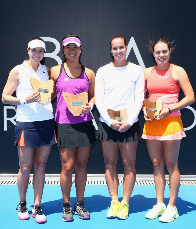 HOBART, AUSTRALIA - JANUARY 16: Doubles winners Christina McHale of the United States and Xinyun Han of China pose with Jarmila Wolfe and Kimberly Birrell of Australia after the doubles final during the 2016 Hobart International at the Domain Tennis Centre on January 15, 2016 in Hobart, Australia.  (Photo by Robert Cianflone/Getty Images)