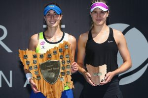 Champion Alize Cornet, with runner-up Eugenie Bouchard. Picture: Getty Images