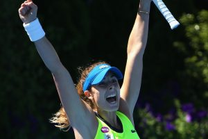 Alize Cornet celebrates on match as Bouchard's shot sails wide. Picture: Getty Images