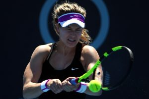 Canadian Eugenie Bouchard fires a backhand during today's final. Picture: Getty Images