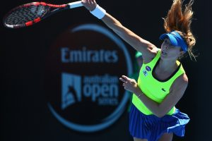 Seventh seed Alize Cornet fires down a serve in today's final. Picture: Getty Images
