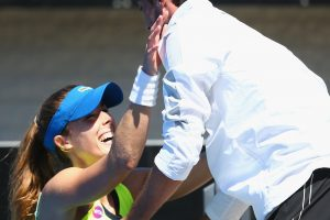 Alize Cornet celebrates her title win with her new coach. It is only their second tournament together. Picture: Getty Images