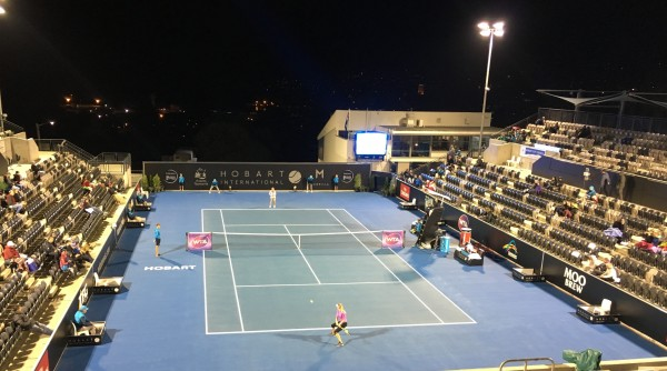 UNDER LIGHTS: Canadian Eugenie Bouchard eliminates second seed Camila Giorgi in late quarterfinal finish. Picture: Leigh Rogers