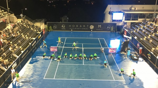 RAIN DELAY: Inclement weather has resulted in play being abandoned on night four of Hobart International 2016. Picture: Leigh Rogers