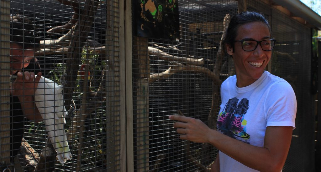 HAPPY VISITOR: Francesca Schiavone was all smiles during a visit to Hobart's Bonorong Wildlife Sanctuary this week.