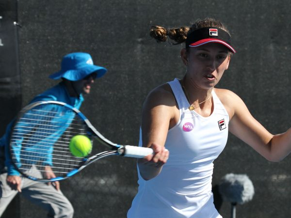CAREER-BEST: Belgian Elise Mertens is into the Hobart International quarterfinals for the first time. Photo: Tim Ikin