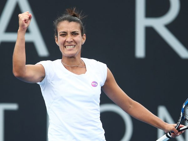 HUGE WIN: Veronica Cepede Royg celebrates her upset win over Andrea Petkovic; Getty Images