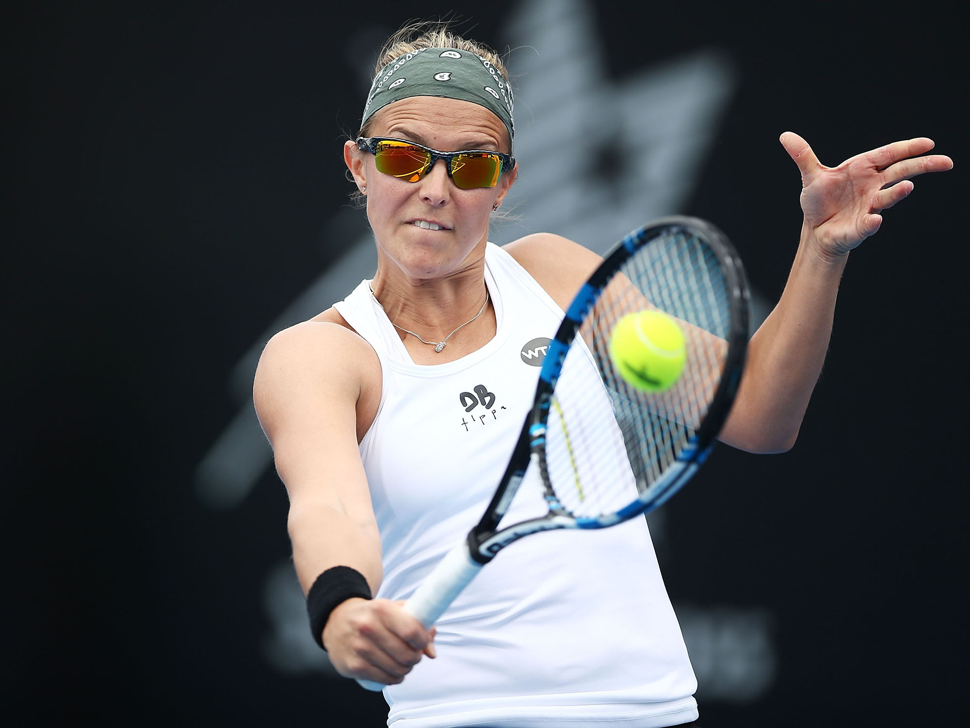 FOCUSED: Kirsten Flipkens' birthday celebrations didn't go to plan, beaten by Monica Niculescu in straight sets; Getty Images