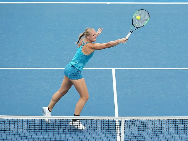 GOT THE TOUCH: Kiki Bertens volleys during a round one doubles match; Getty Images